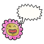 Retro bloem stripfiguur met tekstballon — Stockvector