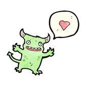 卡通小恶魔与爱的心 — 图库矢量图片