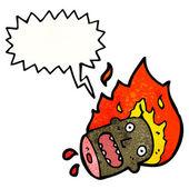 Flaming horror head — Stock Vector