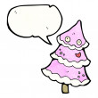 Pink christmas tree with speech bubble    — Stock Vector