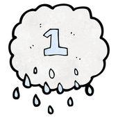 Bir numara ile Raincloud — Stok Vektör