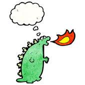 Monster breathing fire — Stock Vector