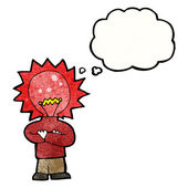 Red light bulb head man — Stock Vector