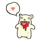 Gross bear with love heart — Stock Vector