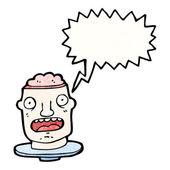Grosse tête de cerveau ouvert d'halloween — Vecteur