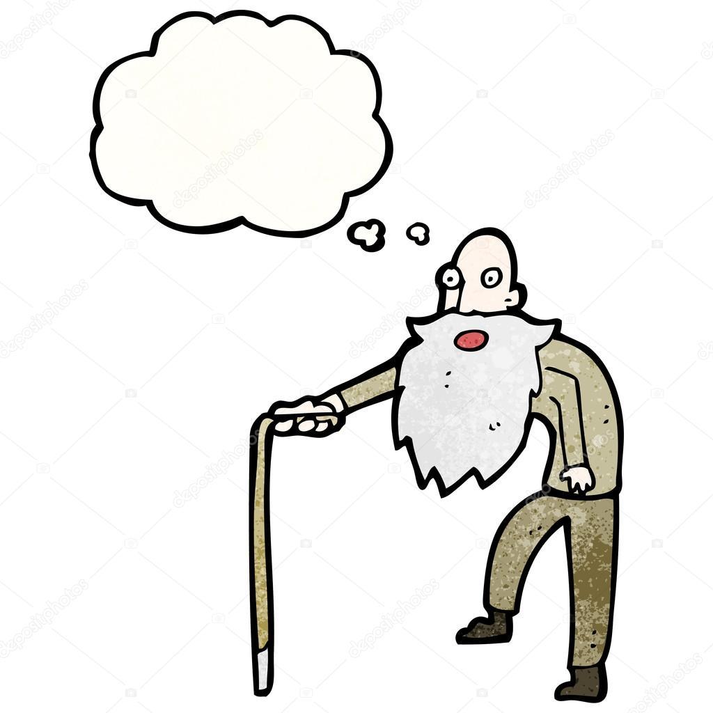 Cartoon old man with walking stick — Stock Vector © lineartestpilot ... Old Man Walking Cartoon