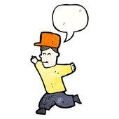 Ejecutando chico con burbuja de discurso — Vector de stock