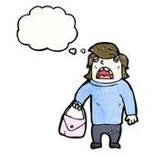 Zakłopotany człowieka posiadającego torebka — Wektor stockowy