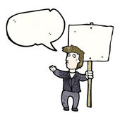 Man with placard protesting — Stock Vector