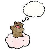 медведь с речи пузырь, плавающей на облаке — Cтоковый вектор