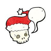 Skull in santa hat — Stock Vector