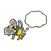 Big bumble bee with thought bubble — Stock Vector