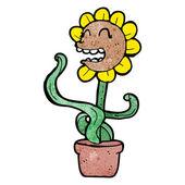 Fleur rétro drôle — Vecteur