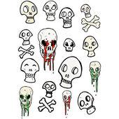 Collection de crânes couleur — Vecteur
