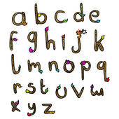 Paintbrush shaped alphabet — Vector de stock