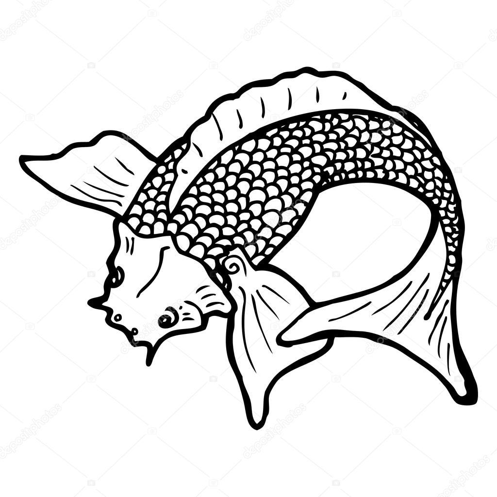 Bianco e nero pesce giapponese tatuaggio vettoriali for Carpa giapponese prezzo