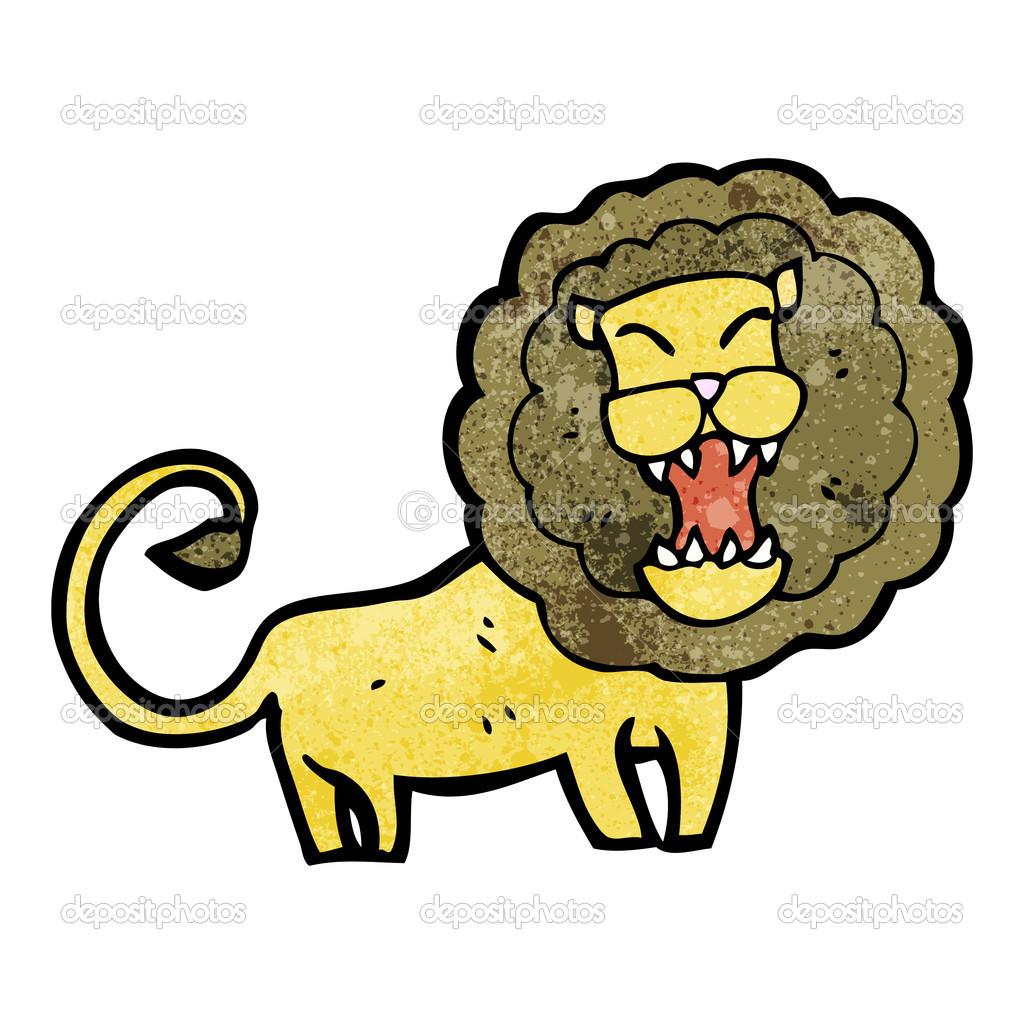 矢量,在白色背景上的卡通狮子简笔画– 图库插图