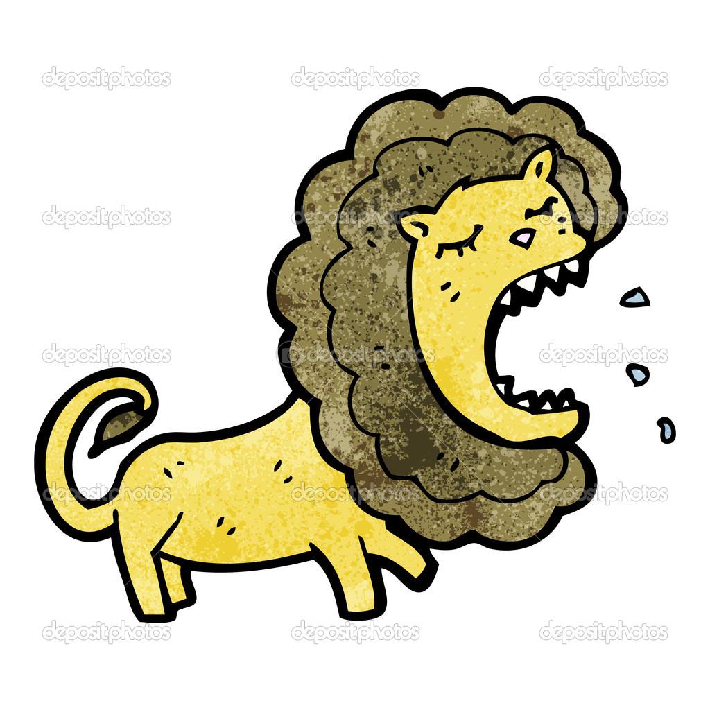 在白色背景上的卡通狮子简笔画