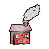 Cottage with smoking chimney — Stock Vector