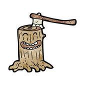 Tocón de árbol con hacha — Vector de stock