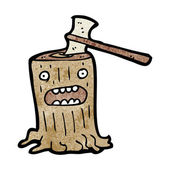 Axe in tree stump — Stock Vector