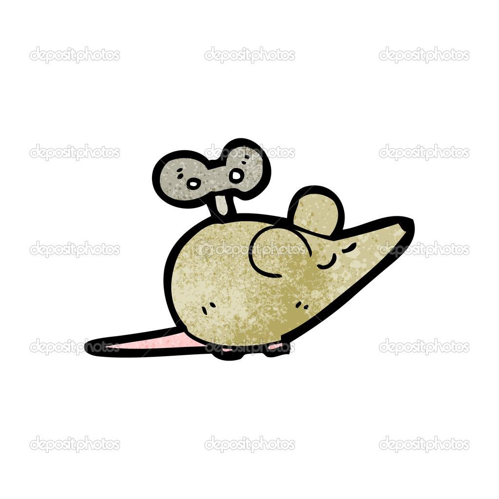 向量,在白色背景上的卡通发条老鼠 — 矢量图片作者 lineartestpilot