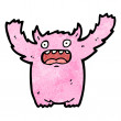 Pink monster cartoon — Imagen vectorial