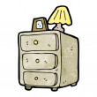 Bedside cabinet cartoon — Stock Vector