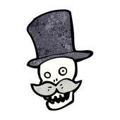 小胡子头骨的帽子 — 图库矢量图片