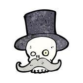 Mustache skull in top hat — Stock Vector
