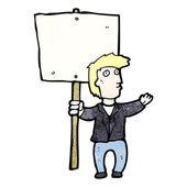 Cartoon man with sign post — Stock Vector