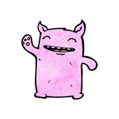 Cute Waving Pink Monster — Stock Vector