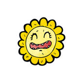 Retro sunflower cartoon — Stock Vector