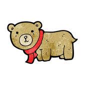 Teddy in scarf cartoon — Stock Vector