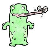 żaba połowu kreskówka mucha — Wektor stockowy