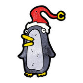 Cartoon christmas penguin — Stock Vector