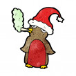 Christmas penguin in santa hat smoking cigarette cartoon - Stock Vector