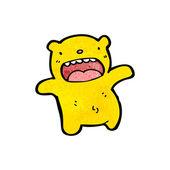 Small yellow teddy bear cartoon — Stock Vector