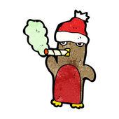 Christmas penguin in santa hat smoking cigarette cartoon — Stock Vector