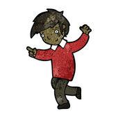 Cartoon school boy pointing — Stock Vector