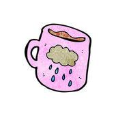 Pink Coffee Mug With A Rain Cloud — Stock Vector