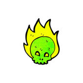 Green Skull With Flames — Stock Vector