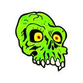 Cartoon Of A Green Alien Skull — Stock Vector
