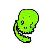Cracked Green Skull — Stock Vector