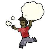 Man running carrying cloud cartoon — Stock Vector