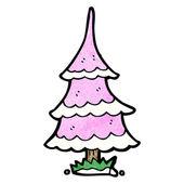 Cartoon Pink Xmas Tree — Stock Vector