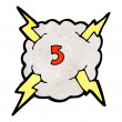 Royalty-Free Stock Vector Image: Cartoon lightning bolt storm cloud number 5
