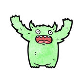 Desenho de monstro peludo verde — Vetor de Stock