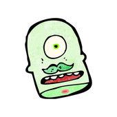 Cartoon monster head with mustache — Stock Vector
