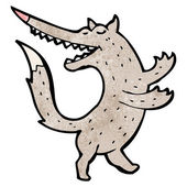 Dansande wolf cartoon — Stockvektor